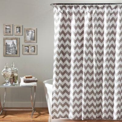 Chevron Shower Curtain In Grey White