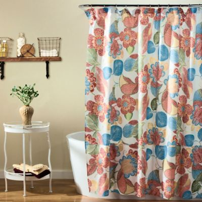 Layla Floral Shower Curtain in Orange BlueBuy Shower Curtains Yellow and Green from Bed Bath   Beyond. Yellow And Teal Shower Curtain. Home Design Ideas