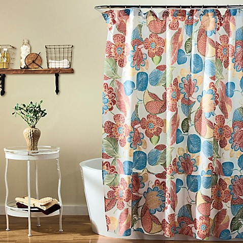 orange floral shower curtain. Layla Floral Shower Curtain In Orange Blue  Bed Bath Beyond
