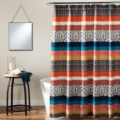 teal striped shower curtain. Boho Stripe Shower Curtain in Turquoise Orange Buy Fabric from Bed Bath  Beyond