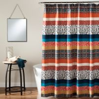 Boho Stripe Shower Curtain in Turquoise/Orange