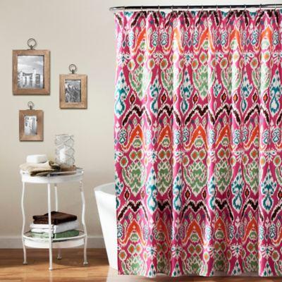 Jaipur Ikat Shower Curtain in Fuchsia