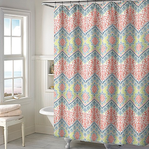 New Sage Chevron Shower Curtain In Coral