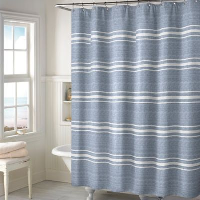 Buy Blue Stripe Fabric Shower Curtain from Bed Bath & Beyond