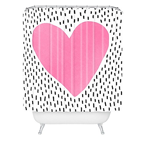 image of Deny Designs Elisabeth Fredriksson Polka Dot Heart Shower Curtain in Pink