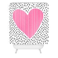 DENY Designs Elisabeth Fredriksson Polka Dot Heart Shower Curtain in Pink