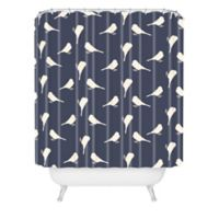 DENY Designs Allyson Johnson Little Birdies Shower Curtain in Blue