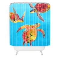 DENY Designs Clara Nilles Tie-Dye Sea Turtle Shower Curtain in Blue