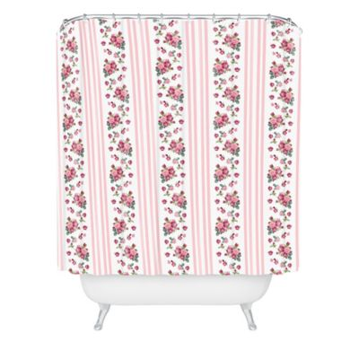 DENY Designs Lisa Argyropoulos Vintage Floral Stripe Shower Curtain In Pink
