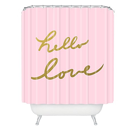 image of Deny Designs Lisa Argyropoulos Hello Love Shower Curtain in Pink