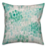 Watercolor Drips 18-Inch Square Throw Pillow in Turquoise/White
