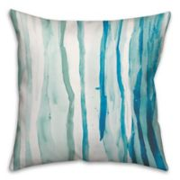 Watercolor Drippy Lines 18-Inch Square Throw Pillow in Blue/White