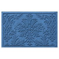Weather Guard™ Damask 23-Inch x 35-Inch Door Mat in Medium Blue