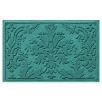 Weather Guard™ Damask 23-Inch x 35-Inch Door Mat in Aquamarine