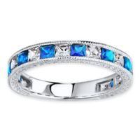 Sterling Silver Simulated Blue and White Sapphire Size 6 Ladies' Stackable Eternity Band
