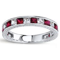 Sterling Silver Simulated Ruby and White Sapphire Size 6 Ladies' Stackable Eternity Band