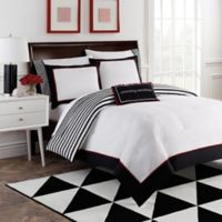 Dahlia 8-Piece Reversible King Comforter Set by Robin Zingone in Black/White/Red