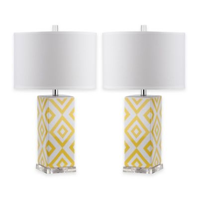 Delicieux Safavieh Diamonds 1 Light Table Lamps In Yellow With Cotton Shade (Set Of 2