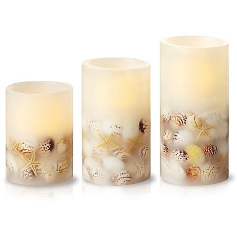 Https Www Bedbathandbeyond Com Store Product Loft Living 3 Piece Led Flameless Seashell Pillar Candle Set 1045724596 Keyword Led Candles
