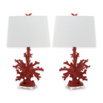 Buy coral table lamp from bed bath beyond safavieh coral branch table lamps in red set of 2 aloadofball Images