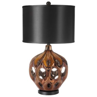 Buy black lamp shades from bed bath beyond safavieh regina 1 light ceramic table lamp with polyester shade in gold black aloadofball Image collections