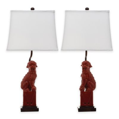 Safavieh Foo Dog Table Lamps In Red (Set Of 2)