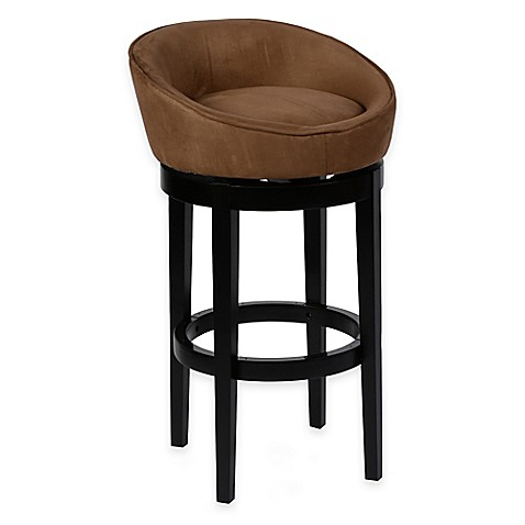 Buy 26 Inch Palm Swivel Barstool In Brown Microfiber From