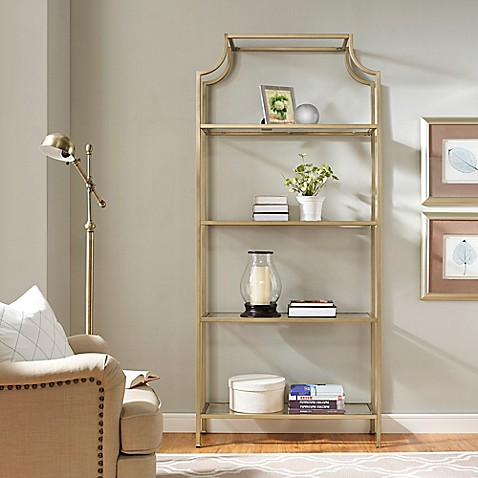 image of Crosley Aimee Glass Etagere in Gold
