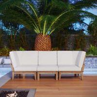 Modway Marina 3-Piece Outdoor Patio Teak Conversation Set in Natural/White