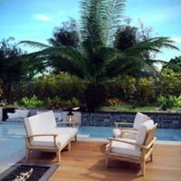 Modway Marina 4-Piece Outdoor Patio Teak Conversation Set in Natural/White