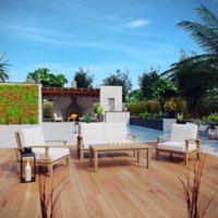 Modway Marina 4-Piece Outdoor Patio Teak Sofa Set in Natural/White
