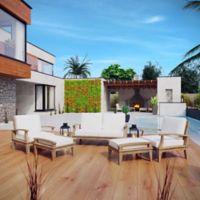 Modway Marina 5-Piece Outdoor Patio Teak Sofa Set in Natural/White