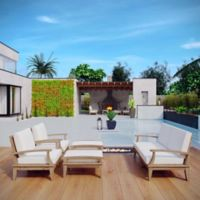 Modway Marina 6-Piece Outdoor Patio Teak Sofa Set in Natural/White