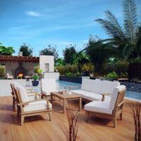 Modway Marina 8-Piece Outdoor Patio Teak Sofa Set in Natural/White
