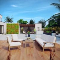 Modway Marina 7-Piece Outdoor Patio Teak Sofa Set in Natural/White