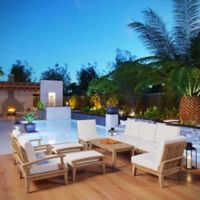Modway Marina 10-Piece Outdoor Patio Teak Sofa Set in Natural/White