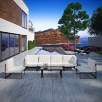Modway Fortuna Outdoor 7-Piece Patio Sectional Sofa Furniture Set in White