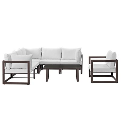 Modway Fortuna Outdoor 7 Piece Patio Sectional Furniture Set In White