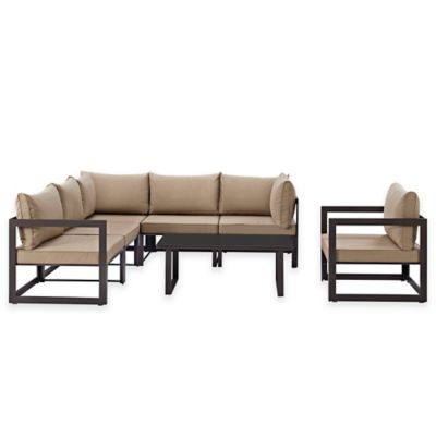 Modway Fortuna Outdoor 7-Piece Patio Sectional Furniture Set in Mocha - Buy Modway Patio Furniture From Bed Bath & Beyond