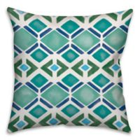 Watercolor Dark Geo 18-Inch Square Throw Pillow in Blue/Green