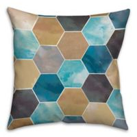 Watercolor Hexagons 18-Inch Square Throw Pillow in Yellow/Blue