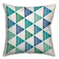 Cool Triangles 18-Inch Square Throw Pillow in Green/Blue