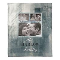 Family Tile Throw Blanket in Blue/White