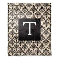 Damask Throw Blanket in Black/Cream