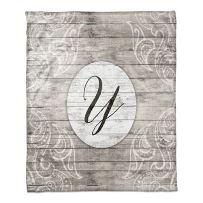Happily Ever After Monogram Throw Blanket In Grey White