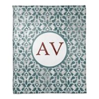 Modern Damask Monogram Throw Blanket in Dark Teal