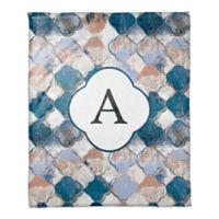 Drippy Quatrefoil Monogram Throw Blanket in Blue/Pink