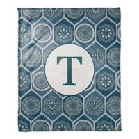Exotic Emblems Monogram Throw Blanket in Blue
