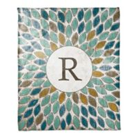 Multicolor Leafies Monogram Throw Blanket