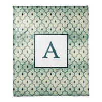Quatrefoil Monogram Throw Blanket in Jade